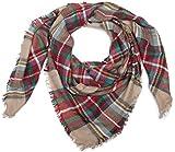styleBREAKER quadratischer XXL Schal, Deckenschal mit schottischem Tartan Plaid Karo Muster und Fransen, Unisex 01018136, Farbe:Creme-Rot-Grün-Blau