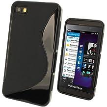 igadgitz S Line Negro Case TPU Gel Funda Cover Carcasa para BlackBerry Z10 Smartphone + Protector de pantalla