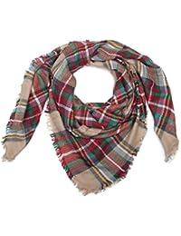 styleBREAKER chal XXL cuadrado, chal manta con motivo a cuadros escoceses tartán y deshilachados, unisex 01018136