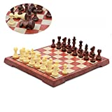 T Tocas Reise Magnetisches internationales Schachspiel mit faltbarem Schachbrett, Holzdesign, Klein( 24,5 cm x 21,5 cm x 1,9 cm)