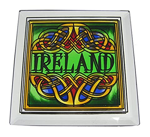 """10 cm Einzelner Buntglas-Untersetzer mit irisch-keltischem Knoten und grüner Aufschrift """"Irland"""""""