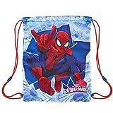 Sacca porta scarpe bambino Marvel Spiderman - Borsa scarpe impermeabile con stampa Uomo ragno - Sacchetto portatutto per sport e per viaggio - 29x38 cm - Blu - Perletti