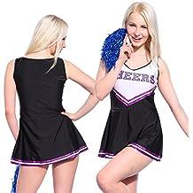 Anladia - Disfraz de animadora Cheerleader para adulta Mujer Mini Vestido sin Mangas con Letras ¨CHEERS¨ Color Negro con Morado Talla 36 38 40 42 44 (L (42))