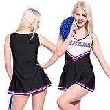 Anladia - Disfraz de animadora Cheerleader para adulta Mujer Mini Vestido sin Mangas con Letras ¨CHEERS¨ Color Negro con Morado Talla 36 38 40 42 44 (S (38))