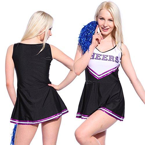 Imagen de anladia  disfraz de animadora cheerleader para adulta mujer mini vestido sin mangas con letras ¨cheers¨ color negro con morado talla 36 38 40 42 44 s 38