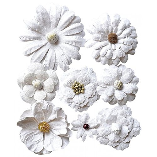 Creative elements white range antique fusion flowers x8 (Antique White Paper)