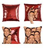 Nicolas Cage Mashup Faces Meme_P004 Sequin Pillow, Cuscino, Sequin Pillowcase, Federa, Two Color Pillow, Fift for Her, Gift for Him, Pillow, Magic Pillow, Mermaid Pillow Cover, Regalo di Natale