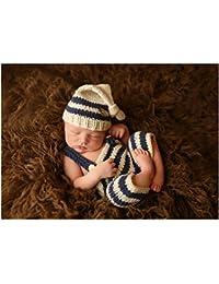 Hecho a mano bebé recién nacido bebé niña niño ganchillo gorro pantalones Fotografía Props ropa disfraz