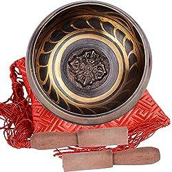 Cuenco Tibetano Budista Diseño Antiguo con 2 Baquetas y Cojín de Seda Cuadrada Regalo Original Colección (Diametro 10cm)