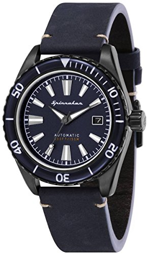 SPINNAKER Men's Fleuss 43mm Blue Leather Band Automatic Watch SP-5056-03