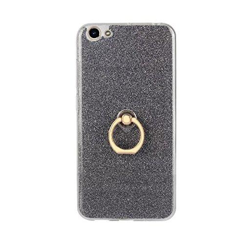 Luxus Bling Sparkle Style Case, Soft TPU [Silikon] Flexible Glitter Rückentasche mit Fingerring Ständer für VIVO Y66 ( Color : Black ) Black