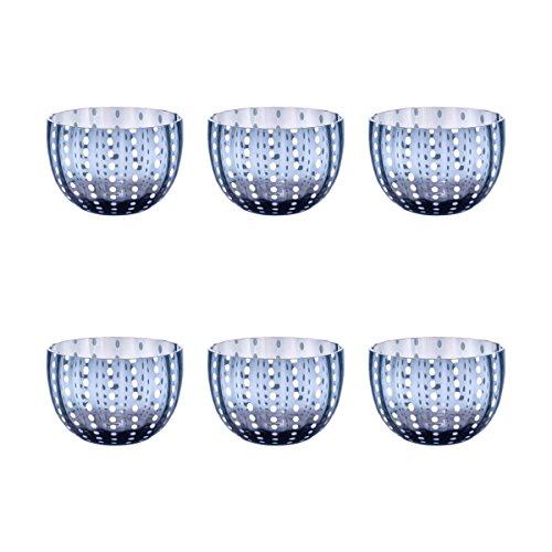 Livellara CARNIVAL Schale Ø 10,5 cm. Elegantes 6-er Set Dessertschalen. Ein Eyecatcher für festlichen Anlässen oder den täglichen Gebrauch. Hochwertiges tintenblaues Glas. Robust. Kratzfest. Spülmaschinengeeignet.