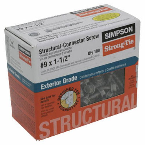 Simpson Structural Screws SDS25600MB 1//4-Inch by 6-Inch with 3-1//4-Inch threaded Structural Wood Screw 100-Pack by Simpson Structural Screws