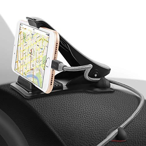 SAWAKE Handyhalterung Auto, KFZ Handy Halterung, Armaturenbrett Kfz klebend Halterung mit Winkeleinstellbar 90° für Garmin, Tomtom, Magellan & Handy (3,0 bis 7,0 Zoll Geräte) - Schwarz