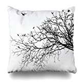 Klotr Fundas para Almohadas Branch Branches Tree Nature Black White Grass Countryside Forest Pillowcase Square Size 18 X 18 Inches Home Decor Cushion Cases