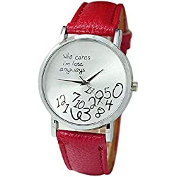 Mallom® New Arrival New Women Leather Watch Who Cares I am Late Anyway Letter Watches Red