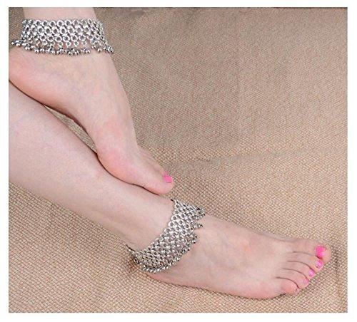 WHUI Vintage Böhmischen Stil Frauen Silber Überzogene Fußkettchen Kleine Glocke Quaste Barfuß Kette Sandale Strand Fuß Schmuck Zubehör (Hochzeit Am Strand Zu Fuß)