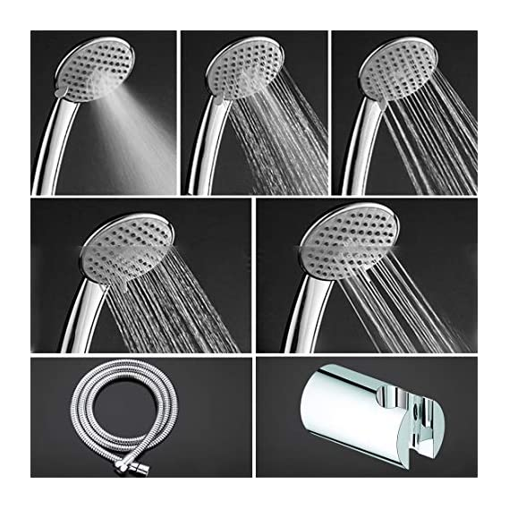 ALTON SHR20765 ABS 3 Flow Hand Shower With 1.5 Meter Flexible Hose Pipe & Wall Hook (Chrome)
