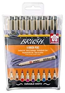 SAKURA Pinselstift PIGMA BRUSH, 9er Etui, farbig sortiert