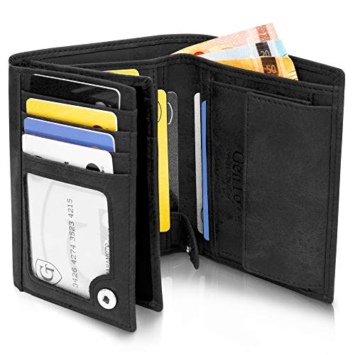 GenTo® Herren Geldbörse Oslo mit Münzfach - TÜV geprüfter RFID NFC Schutz - Geräumiger Geldbeutel im Hochformat - Inklusive Geschenkbox - erhältlich in 4 Farben | Design Germany (Schwarz - Soft)