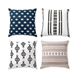 Folkulture Cushion Covers 18 x 18, Set of 4 Decorative Throw Pillow Case with Invisible Zipper for Sofa, Chair, Car, Bedroom