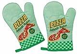 2er Set Topfhandschuhe / Grillhandschuhe / Backhandschuhe Ofenhandschuhe / Kochhandschuhe / Küchenhandschuhe mit Retro / Vintage Druck Pizza
