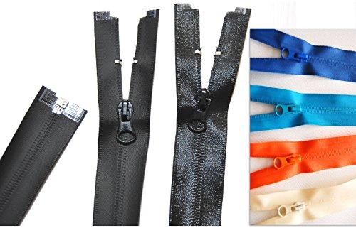 Preisvergleich Produktbild Reißverschluß Zipper wasserdicht teilbar TPU 60 65 70 75 80 cm * matt oder glanz (75 cm, schwarz matt)