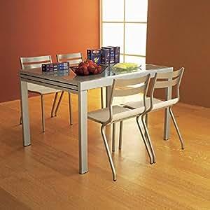 sediarreda tavolo 120 x 90 cm a prolunga satinata vetro