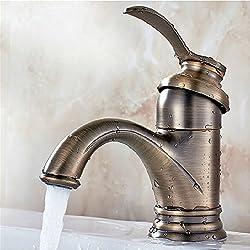 Bijjaladeva Wasserhahn Bad Wasserfall Mischbatterie Waschbecken Waschtisch Armatur Waschbeckenarmatur für BadezimmerAntik Messing - kleine Teekanne kreative Hahn Waschbecken Armaturen