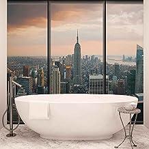 Ciudad de Nueva York Skyline Empire State fotográfico pintado mural de papel pintado (493fw)