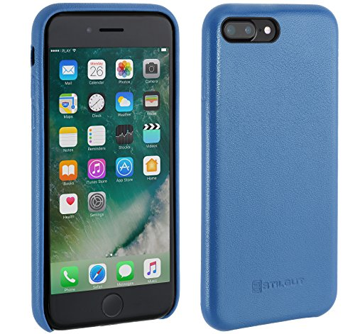 StilGut Premium Cover, edle Hülle aus echtem Nappaleder für iPhone 7 Plus, Aquablau Nappa
