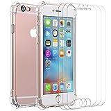 ivoler Custodia Cover per iPhone 6s / iPhone 6 + 3 Pezzi Pellicola Vetro Temperato, Ultra Sottile Morbido TPU Trasparente Silicone Antiurto Protettiva Case per iPhone 6s / iPhone 6