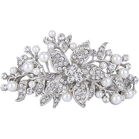 Ever Faith Clip nuziale Hibiscus Crema simulato perla del Barrette dei capelli cristallo N03755-1