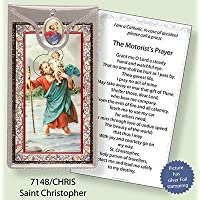 ST San Cristoforo argento foil Etched Verse Prayer card & medaglia ciondolo - Foil Ciondoli
