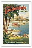 Pacifica Island Art - Fort Lauderdale, Florida - Tropisches Wunderland - Speed-Boot Rennen - Segel Metropole der Welt - Retro Weltreise Plakat von Kerne Erickson - Giclée Kunstdruck 61 x 91 cm