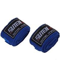 TOOGOO(R) Vendaje MMA tira boxeo guantes de boxeo boxeador de perforacion bolsa 2.5M azul
