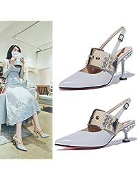 Jqdyl Tacones Sandalias Femeninas Verano Stiletto Wild Zapatos de Mujer, Gris Claro 6Cm, 36