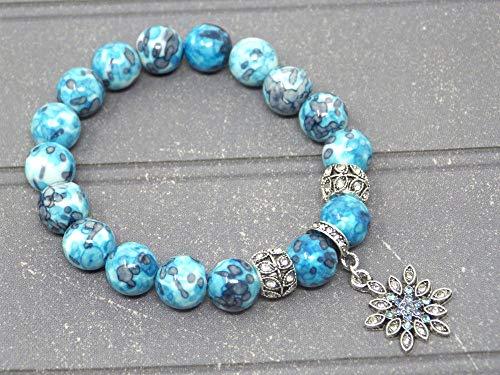 f13efcf6da6d Bracelet pour femme en perles de Jade blanc teinté en bleu et charms en  forme d