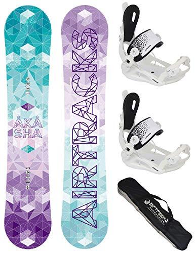 Airtracks Snowboard Set/Akasha Snowboard da donna + attacchi Savage W + borsa SB /144 147 150 153 / cm