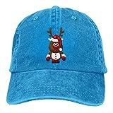 Hommes & Femmes Mignon Noël Reindeer Classique Lavé Teint en Coton Couleur Unie Baseball Chapeau Une Taille New1