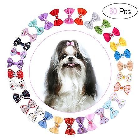 UEETEK Haustier Haar Bögen, 30 Paare / 60 STÜCKE Niedlich Hund Katze Haarband Haarspange mit Gummibänder Hund Haar…