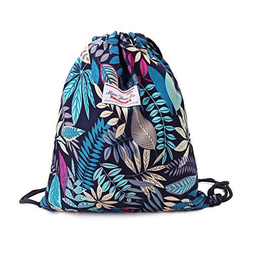 Jenor Kordelzug-Tasche mit Blumenmuster und Blättern, für Fitnessstudio, für Wandern, Yoga, Schwimmen, Reisen, Strand One size 1 Strand Paper Pack