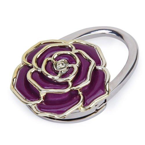 Folding Handtasche Beutel Aufhänger Durable Tabelle Haken Aufhänger Halter Rose Blumen Form (Lila) - Handtasche Tabelle Aufhänger