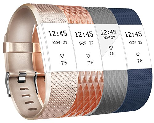 Vancle Für Fitbit Charge 2 Armband, Weiches Verstellbare Silikon Sports Ersetzerband Fitness Verstellbares Uhrenarmband für Fitbit Charge 2 (Classic Champagne Blue,Special Rosegold Grey, Small)