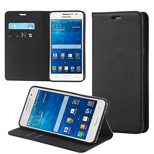 ECENCE Funda para el Samsung Galaxy Grand Prime G530 Libro Cover Wallet Case-s Bolsa Negro 32010206