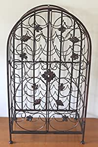 dekoratives weinregal f r 39 flaschen mit metallrahmen und abschlie bar k che. Black Bedroom Furniture Sets. Home Design Ideas