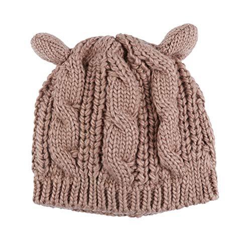 Kabel Stricken Baumwolle Hut (VORCOOL Frauen Stricken Katze Ohr Hut Mütze Pullover Hut häkeln geflochtene Strickmützen)