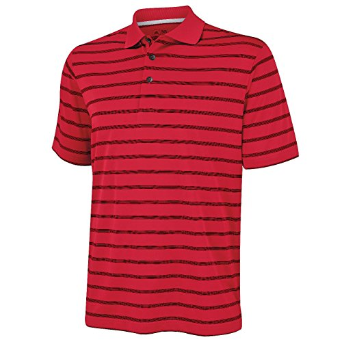 Adidas Golf Textured Stripe Polo Universität Rot / Schwarz L