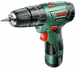 Bosch DIY Akku-Schlagbohrschrauber PSB 10,8 (LI-2, Akku, Ladegerät, Doppelschrauberbit, Koffer, 10,8 V, 2,0 Ah, Bohr-Ø in Holz 20 mm) schwarz/ grün/ rot