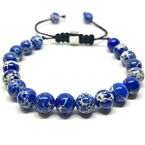 GOOD.designs Shamballa Bracelet en perles à partir de sédiments marins/pierres précieuses en jade., bleu
